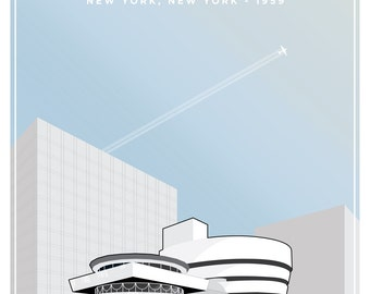 Guggenheim Museum Architectural Illustration  by Frank Lloyd Wright Giclée Poster Print