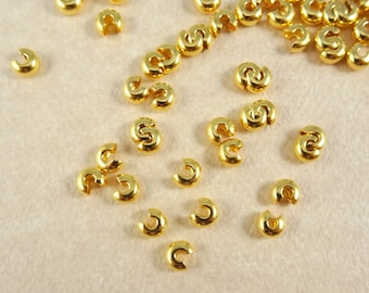 Crimp Cover - Gold Crimp Covers (FM/2673) - 4mm Gold Plated Brass Crimp Covers - Qty. 20
