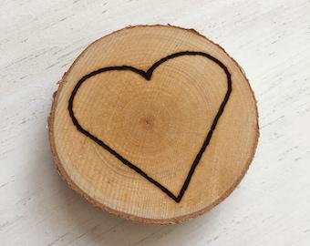 Hand-Etched Heart Birch Magnet | Wood Burned Log Slice Refrigerator Magnet
