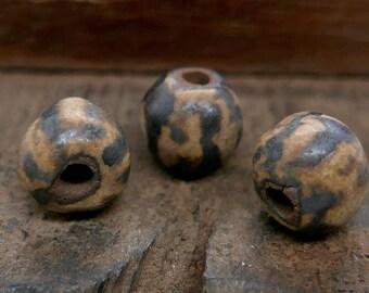 Stoneware Round Beads Ochre Brown Stripe Handmade Pottery