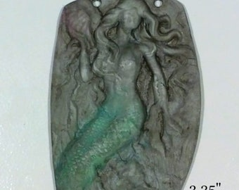 Large Clay Vintage Mermaid Pendant