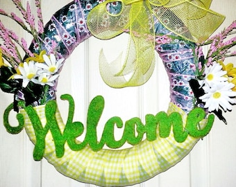 Spring Wreath, Spring Welcome wreath, Spring wreath for front door