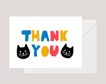 Printable Thank You Cards | Greeting Card | Vet Thank You Cards | Cat Greeting Card | A2 Card | Cat Card