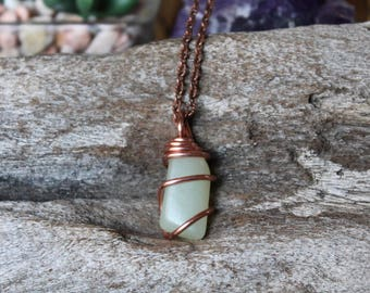 Light Green Jade Necklace, Copper Jewelry, Wire Wrapped Gemstone Pendant, Festival Fashion, Boho Chic, Hippie Style, Chakra Healing