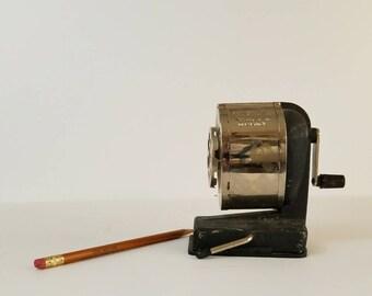 Boston Pencil Sharpener, Vintage Manual Pencil Sharpener, Mid Century Crank Pencil Sharpener, Office Photo Prop, School House Decor