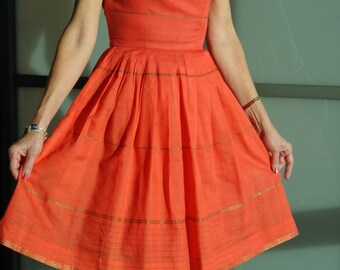 Mad Men *** Coral and Striped (Gold) 1950's Dress