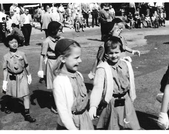 "Vintage Snapshot ""Brownies On Parade"" Adorable Little Girls Small Town U.S.A. Girl Scouts Found Vernacular Photo"