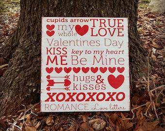 Valentines Subway Art, XOXO, Hugs and Kisses, Custom Valentines Day decor, Valentines Day typography art, Valentines, Arrows, Wooden sign