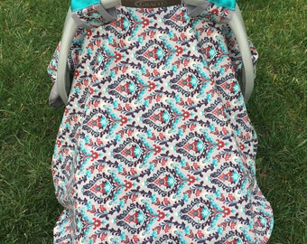 BABY Car Seat Canopy Cover with gray and turquoise