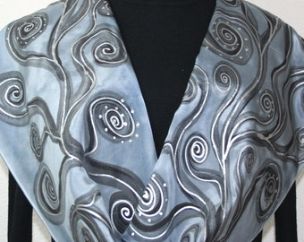 Silk Scarf Gray Silver Hand Painted Silk Shawl SILVER STREAM. Size 11x60. Silk Scarves Colorado. Anniversary Gift. Birthday Gift.