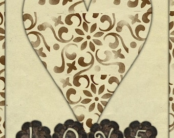 Greeting card LOVE handmade 21cm x 15cm