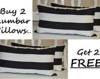 Set of 2 - Rectangle / Lumbar Indoor / Outdoor Black and White Stripe Decorative Throw Pillows + 2 Free