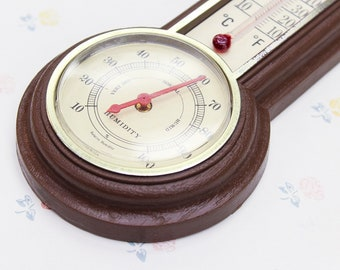 Vintage Thermometer & Humidity Gauge, Mercury Thermometer Vintage Kitchen Decor, Weather Station Man Cave Gift for Dad, Barometer Wall Decor