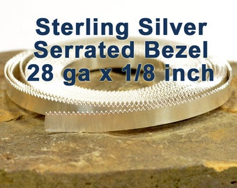"""28ga x 1/8"""" Serrated Bezel Wire - Sterling Silver - Choose Your Length"""