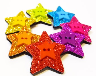 Glitter Star Brooch - Felt and Glitter Star shaped pin badge - Colourful Christmas Stocking Filler