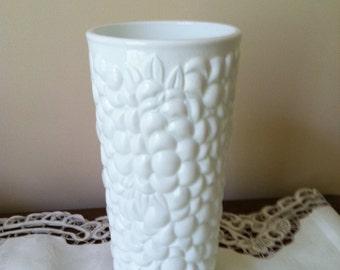 Indiana Glass Textured Milk Glass Vase Floral Pattern