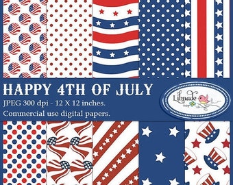 50%OFF Happy 4th of July  digital papers for commercial use , Independence Day digital papers, July 4th scrapbook papers, P75