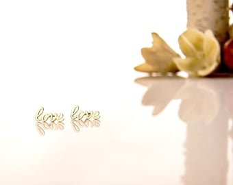 Love earring, 14k solid yellow gold
