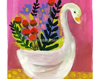 Swan bearing gifts  •still life • art print • giclee • floral • flowers • whimsical • vase series • bird • gouache • mary blair •gift •retro