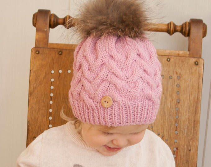 KNITTING PATTERN cable hat Irpa (toddler, child, adult sizes)