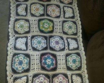 Handmade African Flower crochet lap blanket / throw