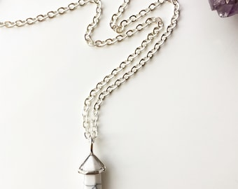 Marbled White Howlite Point Necklace
