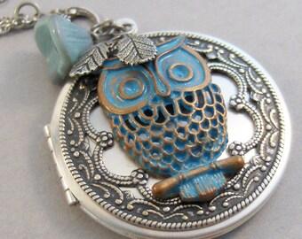Rustic Owl,Owl Necklace,Owl Locket,Owl Jewelry,Blue necklace,Owl Locket,Silver Locket,Necklace,Owl,Woodland,Antique Locket,valleygirldesigns