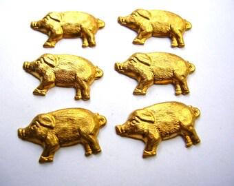 Pig Stampings - Brass Findings Lot - Pig Findings - Brass Hogs