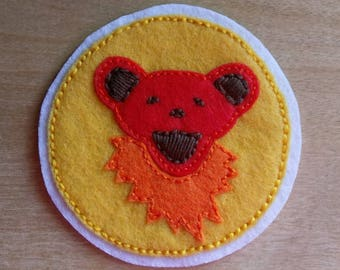 Red & Orange Jerry Bear: felt patch
