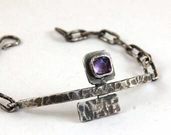 SALE 10 - 20% amethyst silver bracelet, oxidized raw rough silver, handmade chain bracelet