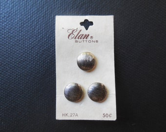 Vintage Elan buttons - round, brushed silver toned, carded buttons
