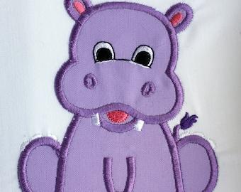 Hippo Patch, Hippopotamus Applique, Embroidered Elephant, Iron On Patch, Applique Patch, Embroidered Hippo Patch, Baby Hippo Patch