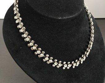 Vintage Clear Paste Rhinestone Necklace Choker Art Deco Costume Jewellery