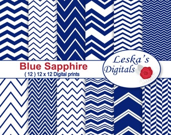 "Blue Sapphire Chevron Digital, ""BLUE CHEVRON DIGITAL"" Scrapbooking Digital Paper, instant download 12 x 12 digital paper pack"