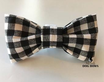 Black Plaid Dog Bow Tie - Black and white dog bowtie - Black gingham dog bowtie - Gingham dog bow tie - Black plaid dog bowtie