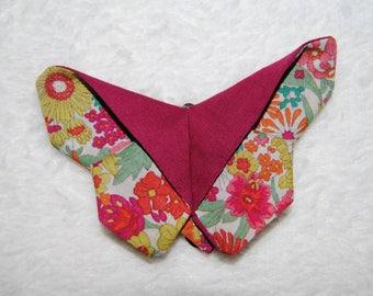 Burgundy floral ' Butterfly' hair clip