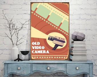 Old video camera, Video camera,Vintage video camera, Wall art sign, Metal artwork, Art metal sign, Custom metal sign, Decor sign, Metal Sign