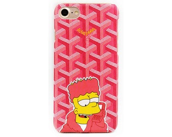 Luxury Goyard Bart Simpson Cartoon Pink Black Prank Calls High Quality PC Tumblr Case Cover Apple iphone X 10 8 7 7 plus 6 6S 6plus Fundas