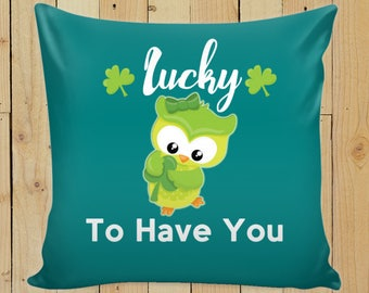 St Patricks Day 2018 Cover + Insert Decorative Throw Pillow For Kids Room / Girlfriend/ Fiancé Romantic Gift  Home Décor
