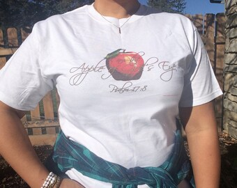 Christian Shirts Apple of Gods Eye Unisex Bible Verse Scripture Womens T-Shirt Inspirational Mothers Day Gift for Mom of Faith