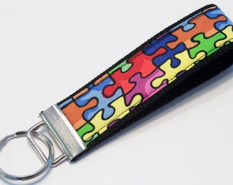Fabric Key Fob, Key Chain, Key Ring, Key Holder, Wristlet Key Fob, Wristlet Keychain, Fabric Key fobs-Puzzled