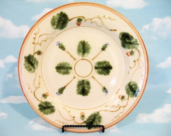 Italian ironstone plate, casual ironstone, decorative plate, green and tan, wall or dining plate, dish