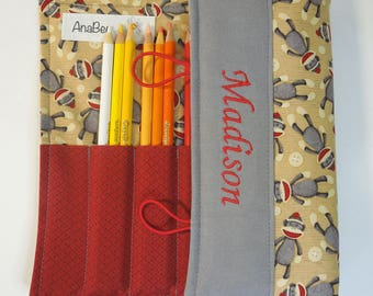 Personalized Colored Pencil Roll - Sock Monkey, 24 pencils INCLUDED, Pencil case, Pencil roll,