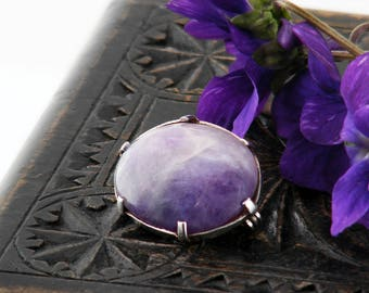Edwardian Brooch   Antique Amethyst Lace Pin   Sterling Silver & Natural Amethyst Cabochon   Lavender Gemstone Scatter Pin or Bouquet Pin