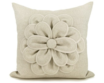 16x16 Decorative Pillow Cover | Flower Pillow Cover | Natural Pillow Cover | Rustic and Shabby Chic Home Decor | Flower Applique Pillow