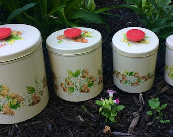 Vintage Pentron Tin Metal Set of Four Stacking Canisters with Strawberies and Flowers, Canister Set Farmhouse Decor Flour and Sugar Set