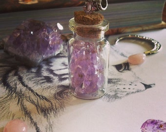 """Wiccan """"Crystal Amethyst"""" vial pendant"""