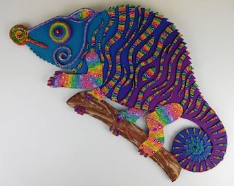 Art de mur argile polymère sur mesure ou horloge--lunatique Animal Art. Tout amateur de caméléon vont adorer ce cadeau d'Art caméléon fait à la main.