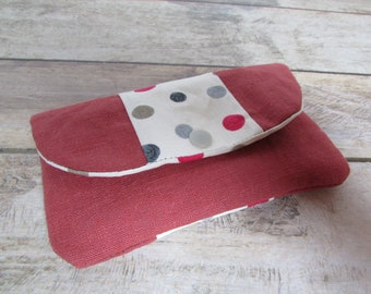 Wallet, double Pocket zipper red - 15 x 9 cm - linen / cotton - 185