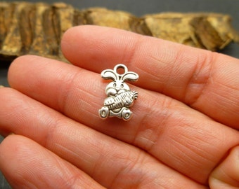 Bunny Charms - Antique Silver Charms - 12 pc - Rabbit Charms in Antique Tibetan Silver -MC0956